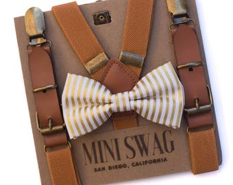 Gold Stripe Bow Tie and Leather Suspenders, Toddler Suspenders Bow Tie Set, Cake Smash Outfit for Boys, Family Pictures Outfit, Baby Bow Tie