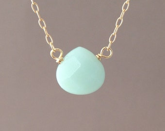 Amazonite Blue Drop available in gold or silver