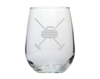 Curling Wine Glass / Personalized Gift / Free Personalization / Etched 17 oz Stemless Wine Glass / Personalized Glass