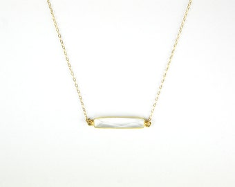 Clear Crystal Quartz Bar Necklace   Dainty   Clear Quartz   Limited   Modern   Perfect for Gift Giving   Jewelry
