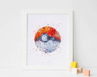 Poké Ball, Pokemon gifts, pokeball watercolor nursery Art Print, poke decor, Watercolor kids poster pokemon ball art Pocket Monsters Poster