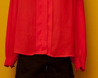 Vintage 1980's Hudsons Bay Blouse, Red with Blue Trim, Gold Buttons Size Medium/Large