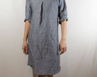 LINEN Tunic/100% Linen/Summer dress/Washed/ Textured/LINEN dress/long tunic/long top/three-quarter sleeve/Black Papyrus
