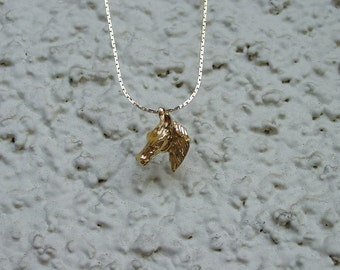 """Horse Head Equestrian Jewelry Pendant & 18"""" Chain Necklace 14K Gold Plated Great Detail"""