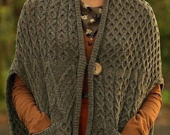 Alpaca knit poncho, knit cardigan Aran style, made to order wrap shawl, Aran stole with button and pocket. Handknitted gift for her