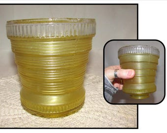 Vintage Yellow Ribbed Art Deco Glass Light Globe or Shade, light fixture accessory