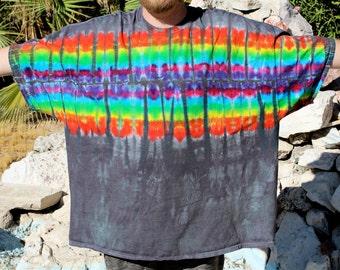 Plus size Shirt, Tie Dye T-Shirt, Rainbow T-shirts, Trippy Top, Hippie Clothing