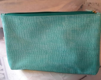 Vintage Turquoise Leather clutch bag, Green Clutch Purse,