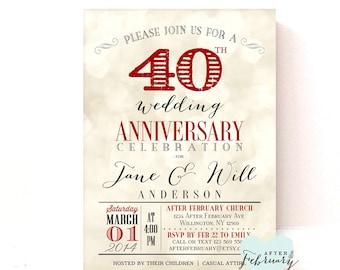40th Anniversary Invitation - Ruby Red Wedding Anniversary - Light Bokeh Background -  Printable No.730
