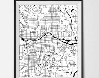 Calgary Alberta Map Art, Alberta Art Print Calgary Map of Calgary City Map Poster Alberta Gift Calgary Art Poster Travel Map