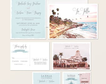 La Jolla California San Diego CA illustrated Destination wedding invitation California beach wedding invitation Suite - Deposit Payment