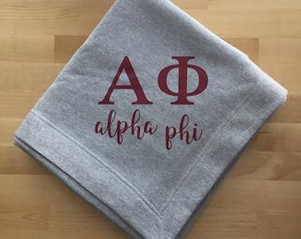 Alpha Phi Blanket; APhi Blanket; Sorority Blanket; Sweatshirt Blanket; Sorority Gift; Big little sorority; Alpha Phi Gift