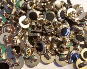 "1/2"", Black & Silver Bulk Buttons for Crafts, Sewing, Jewelry and More - Button Lot- 100 buttons in each bag"