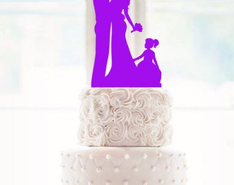 Wedding Cake Topper Bride and Groom Silhouette Wedding Cake Topper curvy bride cake topper with curvy bride and groom holding hands with bri