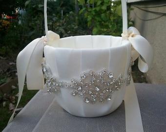 SALE - Wedding Flower Basket, Flower Girl Basket, Rhinestone Flower Basket  - Style BK1003