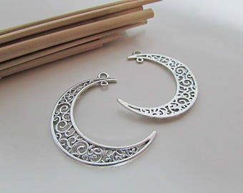 Moon 4 4 x 3.2 cm sterling silver antique-hole 2 mm - 412.22