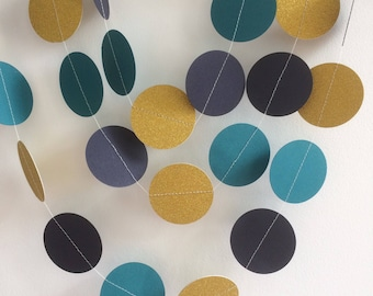 Navy, Teal and Gold Glittery Circle Garland, Decor, Party decor, Weddings, Celebrations,