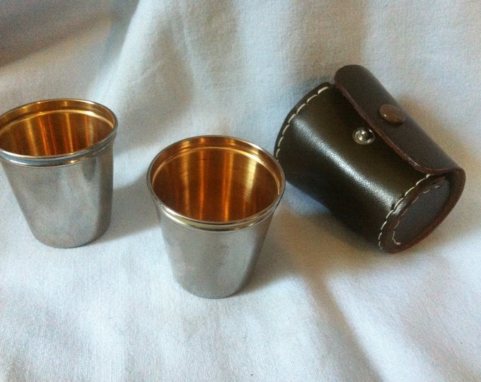 Vintage schnapps metal Mug in gold colored 2 pieces top condition