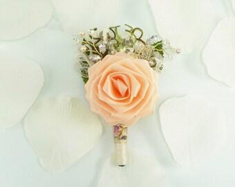 Marie Antoinette Origmai Rose Boutonniere in French Pastel for Spring Alternative Weddings, Vintage Weddings, Rustic Weddings, Garden