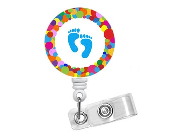 Rainbow Baby Feet - Pediatric Badge Holder - Nursing Badge Reel - Name Badge Holder - Rn - Ob Badge Clip - Labor and Delivery Nurse Id Clip