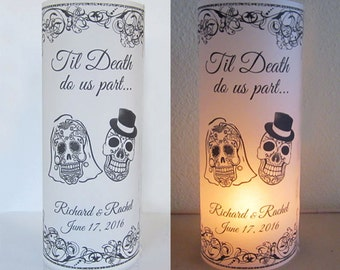 12 Personalized Sugar Skull, Day of the dead, Wedding Centerpiece Table Decoration Luminaries
