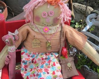 RAGGEDY DOLL~ Made To Order~ Shelf Sitter~ Handmade Doll~ Primitive Rag Doll~  Primitive Doll Decor~ Little PIG Dollie~ Pig~ Handmade Gift~
