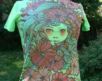 Vintage Floral Women's Shirt Green Polyester