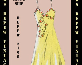 Vintage Sewing Pattern 1930's French Slip or Dress in Any Size- PLUS Size Included- Depew 169 -INSTANT DOWNLOAD-