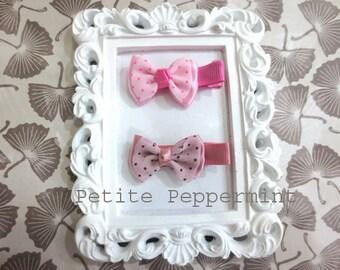 Baby hair clip,baby hair bow,toddler,girl hair clip,baby hair accessory,baby bow clip - Set of two bow hair clips