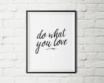 """Wall Quote """"Do What You Love"""" Black and White Typography Poster Wall Decor Bedroom Home Decor Black And White"""