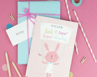 Personalised Notebook for girls. Birthday gift for her. Girls stocking filler. Personalized Sketchbook. Personalised notebook.