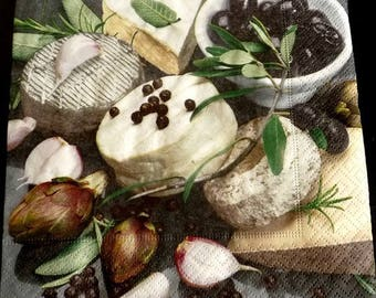 Towel paper cheese and olives