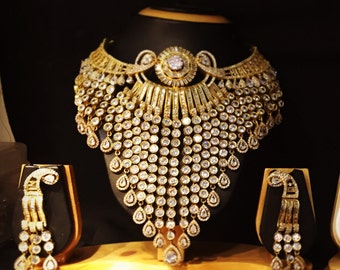 American Diamond Traditional Indian AD CZ Gold Plated Bollywood Style Wedding Necklace Bridal Set