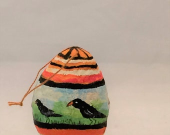 Spun Cotton Painted Egg with  crow black bird feather tree ornament by Maria Paula