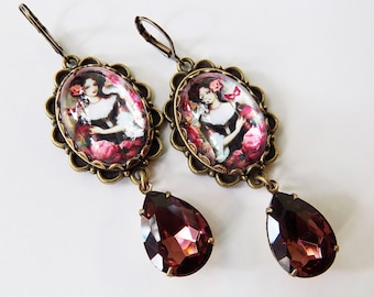 Masquerade Ball earrings - Burgundy Wine Earrings - wine and Aqua - Shabby earrings - Costume earrings - Art Jewelry - Plum Wine Drops gift