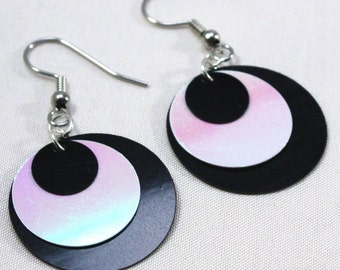 Black & White Circle Sequin Earrings Simple Iridescent Dangles Plastic Sequin Jewelry
