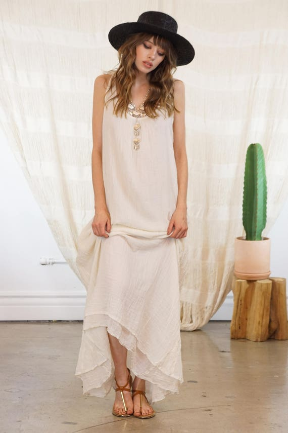 SALE Ivory/Beige Maxi Dress Maxi Boho Dress Long Casual
