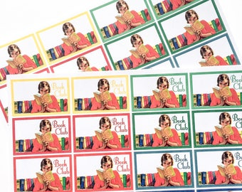 F115--Retro Reading or Book Club Planning Stickers fot the Erin Condren ECLP or Happy Planner