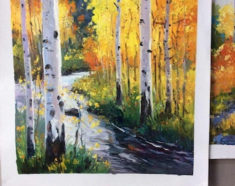Birch Forest, Brook, Home Decor - Original high quality hand-painted oil painting, Stream bank white trees,Modern Vivid color wall art decor