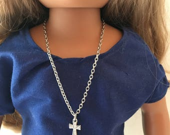 "18"" DOLL CROSS Necklace.  18"" doll.  Doll Jewelry.  Doll Chain.  18"" Doll Necklace.  Doll Accessories. Fits American Girl Doll."