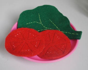 Slice of tomato leaf salad and slices of cheese