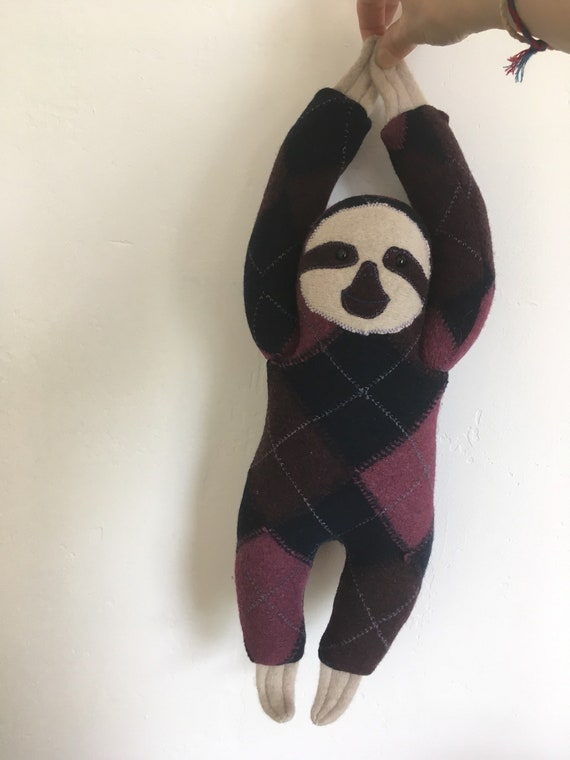 Sloth soft toy handmade recycled woollen cuddly - felted woollen knit
