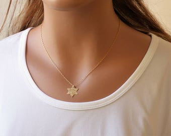 100% Gold filled Star of David Necklace, Magen David Necklace, Dainty Necklace, Layering Necklace, Jewish jewelry