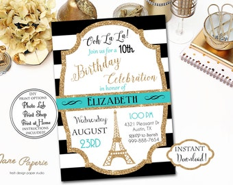 INSTANT DOWNLOAD - Black Stripe Paris Birthday Robin's Egg Blue Aqua Blue Invitation - Gold Glitter Eiffel Tower Birthday Invite - 0204