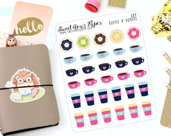 Coffee Cup and Donuts Planner Stickers - But First Coffee - Coffee Planner Stickers - Donut Planner Stickers - 089