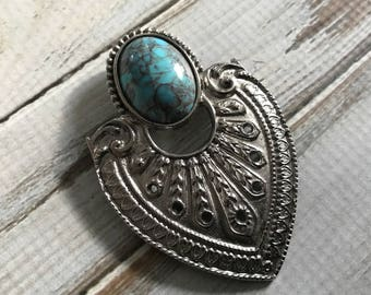 Vintage faux turquoise south western brooch silver and blue Native American style arrow head brooch