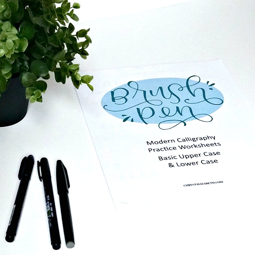 Brush Pen Modern Calligraphy Practice Worksheet Packet Basic