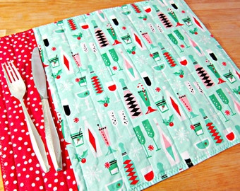 Christmas Placemats, Quilted Placemats, Retro Placemats, Retro Decor, Fabric Placemats, Michael Miller Holiday Party, Mid Century Modern