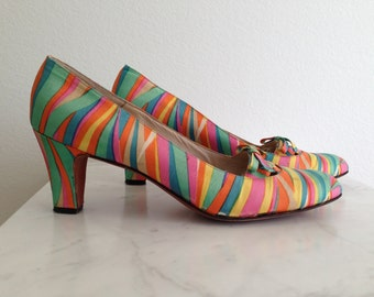 60s Psychedelic Saks Silk & Leather Shoes - Vintage Zebra Stripe Rainbow High Heels - Mod Mad Men - Fenton 9.5 AAAA