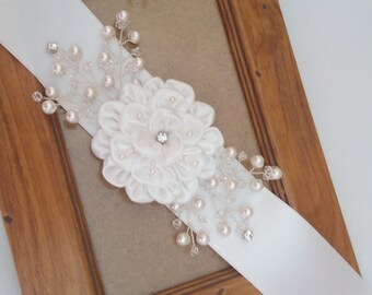 Wedding Dress Sash, Flower Bridal Sash, Wedding Dress Belt, Wedding Dress Sashes Belts, Satin Flower Belt